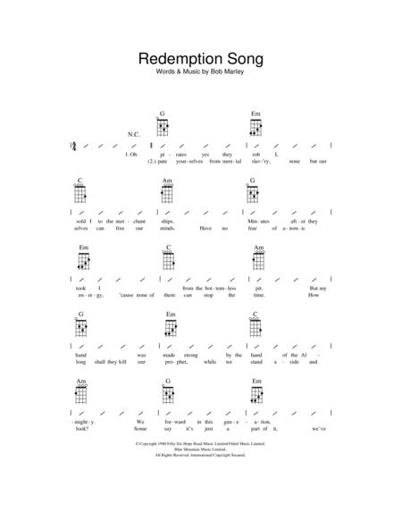 Download Redemption Song Sheet Music By Bob Marley Sheet Music Plus