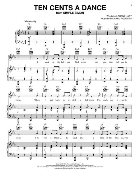 Download Ten Cents A Dance Sheet Music By Rodgers And Hart - Sheet ...