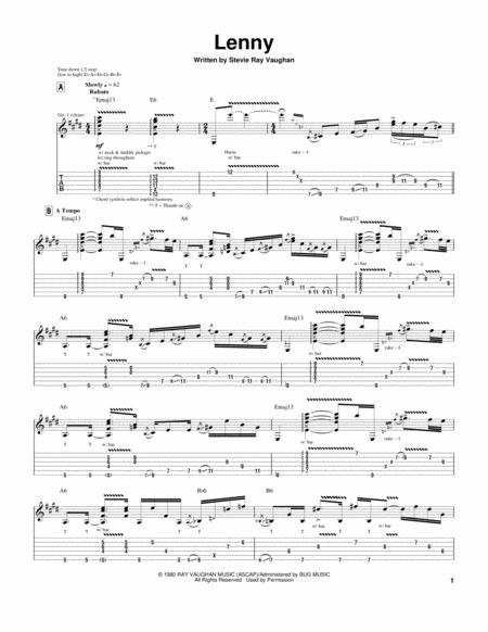 Download Lenny Sheet Music By Stevie Ray Vaughan - Sheet Music Plus