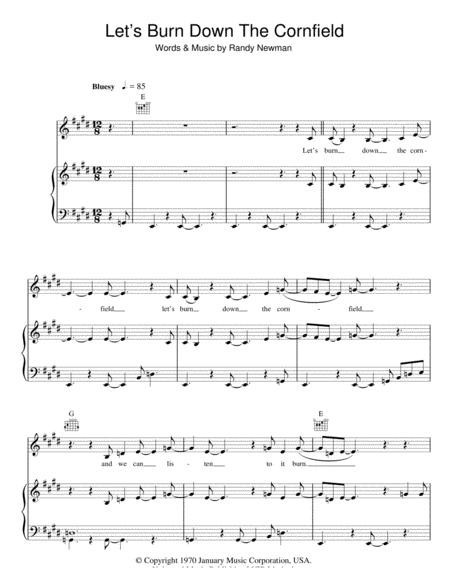 Download Let\'s Burn Down The Cornfield Sheet Music By Randy Newman ...
