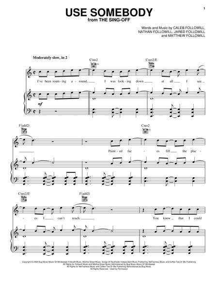 Download Use Somebody Sheet Music By Kings Of Leon - Sheet Music Plus