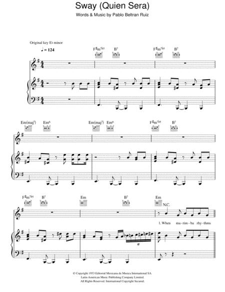 Download Sway Quien Sera Sheet Music By Pablo Beltran Ruiz Sheet