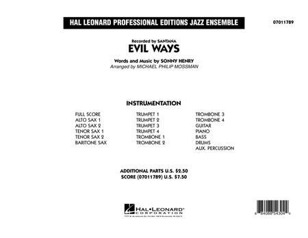 Evil Ways - Conductor Score (Full Score)
