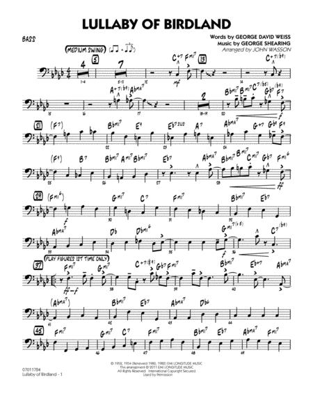 Download Lullaby Of Birdland - Bass Sheet Music By George Shearing ...