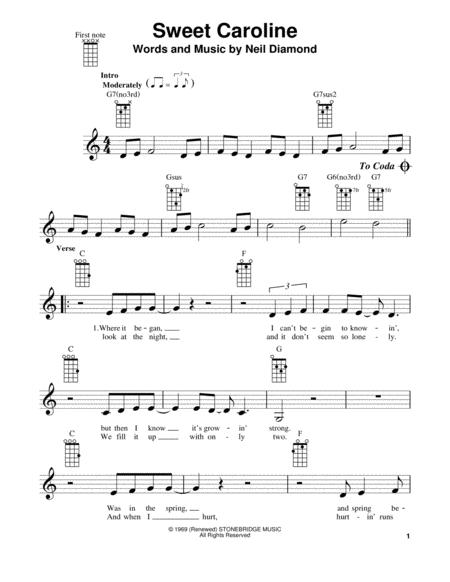 Download Sweet Caroline Sheet Music By Neil Diamond Glee Cast