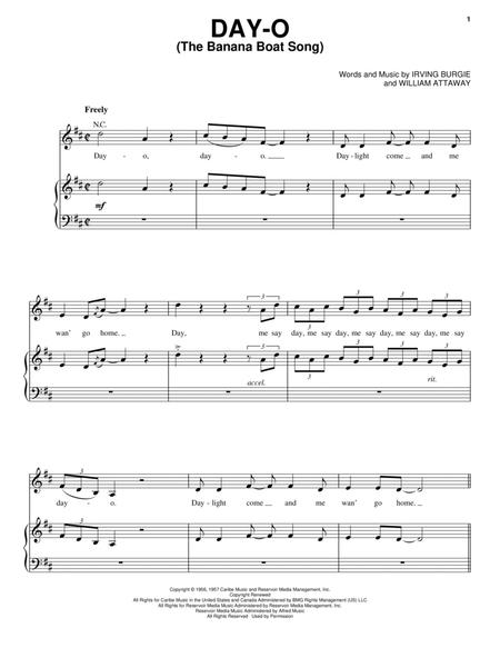 Download Day-O (The Banana Boat Song) Sheet Music By Harry Belafonte ...