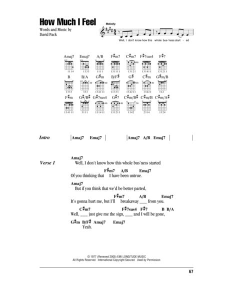 Download How Much I Feel Sheet Music By David Pack - Sheet Music Plus