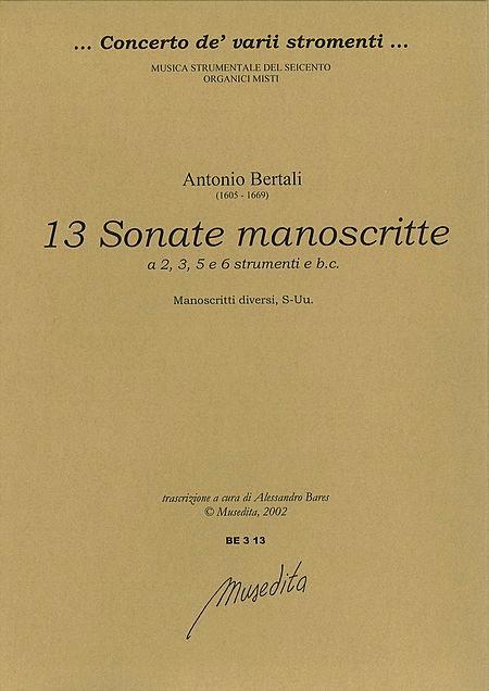 13 Sonatas for 2, 3, 5 & 6 instruments and basso continuo (Manuscript, S-Uu)