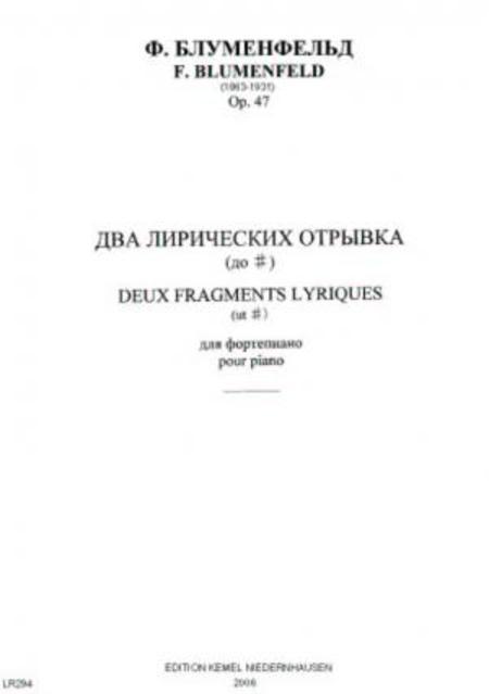 Deux fragments lyriques ut# : pour piano, op. 47