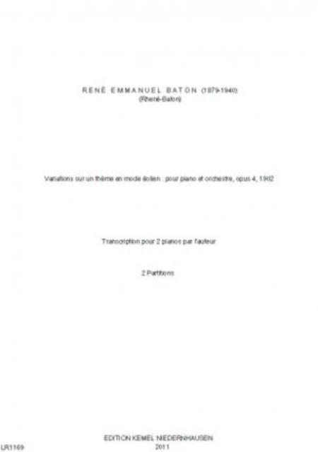 Variations sur un theme en mode eolien : pour piano et orchestre, opus 4, 1902 (Edition 2 pianos)