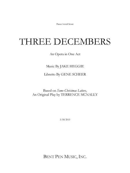 Three Decembers (piano/vocal score)