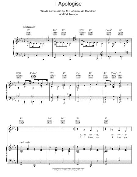 Download I Apologise Sheet Music By Al Hoffman Sheet Music Plus