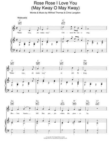Download Rose Rose I Love You May Kway O May Kway Sheet Music By