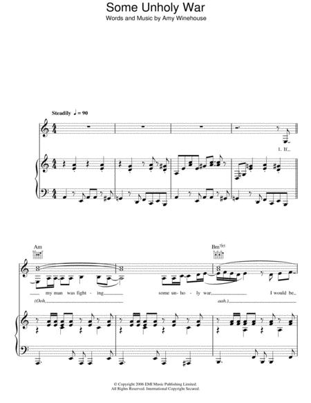 Download Some Unholy War Sheet Music By Amy Winehouse - Sheet Music Plus