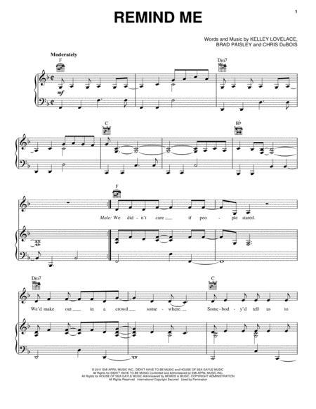 Download Remind Me Sheet Music By Brad Paisley Sheet Music Plus