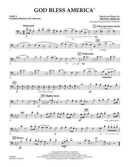God Bless America - Pt.4 - Trombone/Bar. B.C./Bsn.