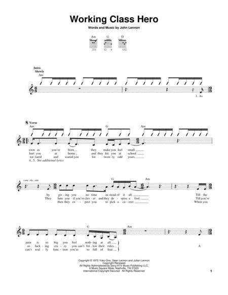 Download Working Class Hero Sheet Music By Green Day - Sheet Music Plus