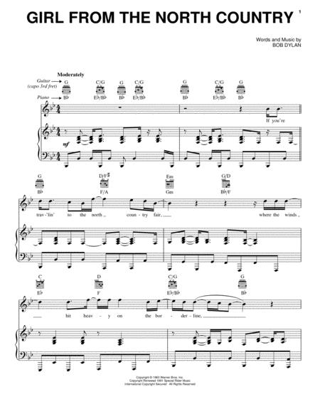 Download Girl From The North Country Sheet Music By Bob Dylan ...