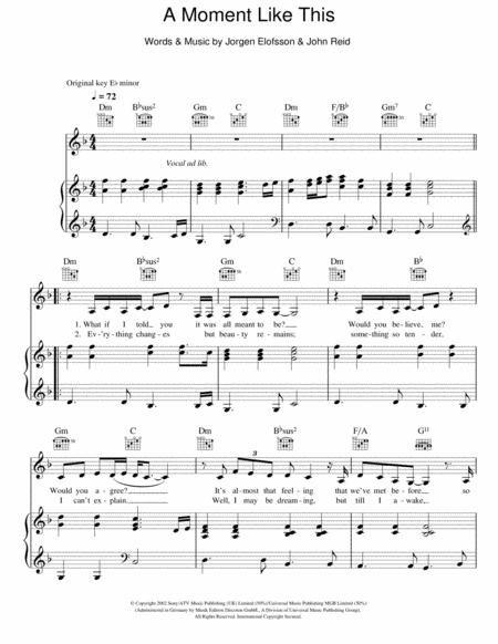 Download A Moment Like This Sheet Music By Leona Lewis
