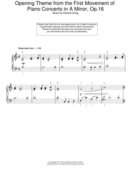 Opening Theme from the First Movement of the Piano Concerto in A Minor, Op.16
