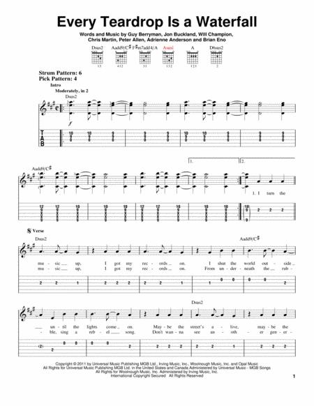 Download Every Teardrop Is A Waterfall Sheet Music By Coldplay