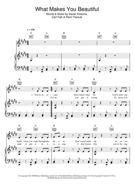 Download What Makes You Beautiful Sheet Music By One Direction