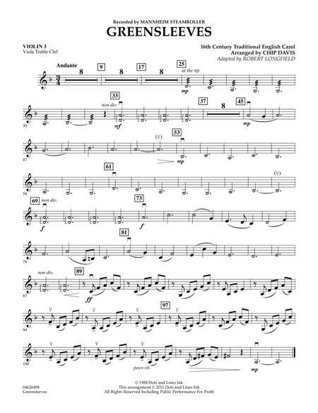 Greensleeves - Violin 3 (Viola Treble Clef)