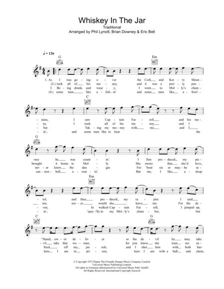 Download Whiskey In The Jar Sheet Music By Thin Lizzy Sheet Music Plus
