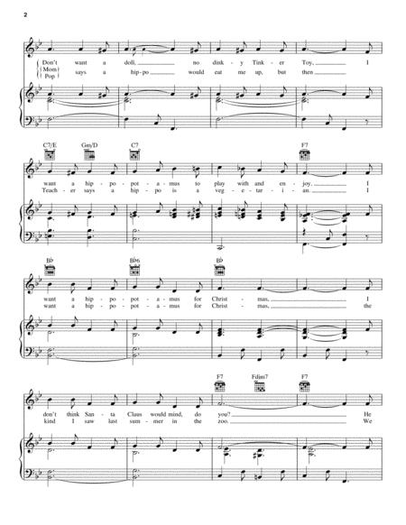 I Want A Hippopotamus For Christmas (Hippo The Hero) By - Digital Sheet Music For Piano/Vocal ...