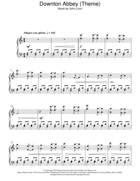 downton abbey theme piano sheet music free