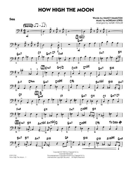 Download How High The Moon Bass Sheet Music By Morgan Lewis
