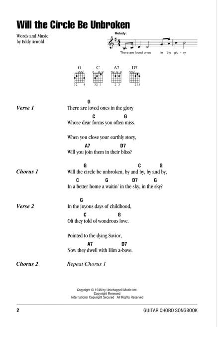 Download Will The Circle Be Unbroken Sheet Music By Eddy Arnold ...
