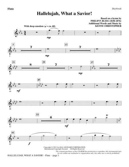 Download Hallelujah, What A Savior! - Flute Sheet Music By Philip ...