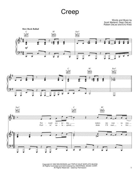 Download Creep Sheet Music By Stone Temple Pilots - Sheet Music Plus