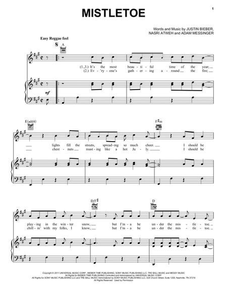 Download Mistletoe Sheet Music By Justin Bieber - Sheet Music Plus