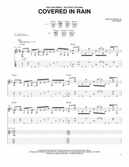 Download Covered In Rain Sheet Music By John Mayer Sheet Music Plus