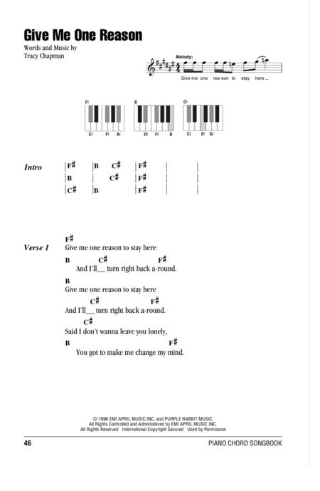 Download Give Me One Reason Sheet Music By Tracy Chapman Sheet