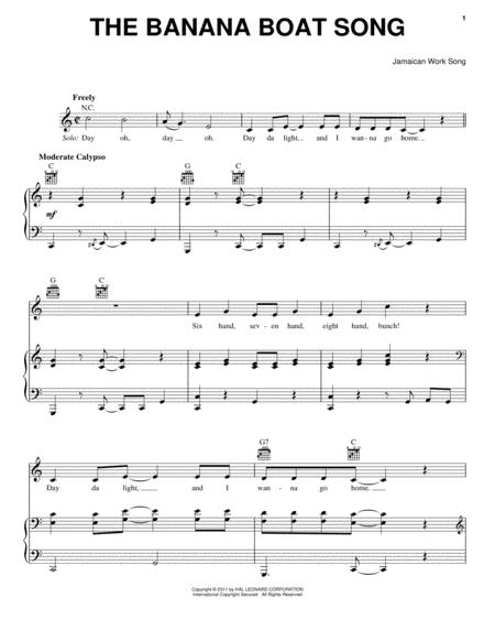 Download The Banana Boat Song (Day-O) Sheet Music By Jamaican Work ...