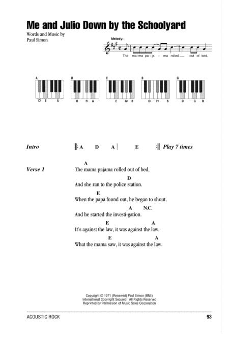 Download Me And Julio Down By The Schoolyard Sheet Music By Simon ...