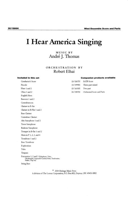 I Hear America Singing - Wind Ensemble Accompaniment