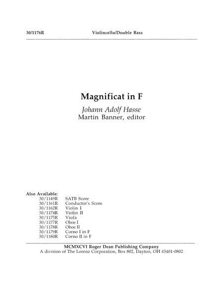 Magnificat in F - Cello