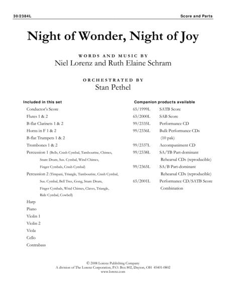 Night of Wonder, Night of Joy - Orchestral Score and Parts