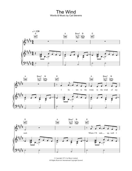 Download The Wind Sheet Music By Cat Stevens - Sheet Music Plus