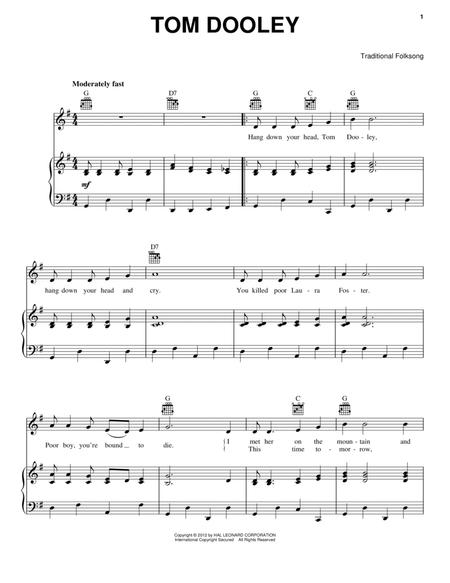 Download Tom Dooley Sheet Music By Traditional Sheet Music Plus