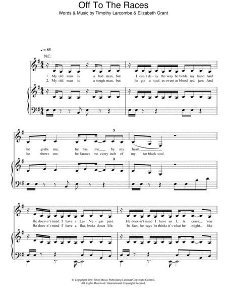 Download Off To The Races Sheet Music By Lana Del Rey Sheet Music Plus