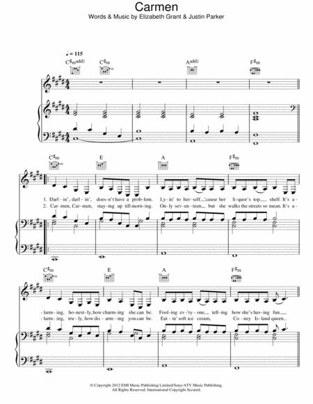 Download Carmen Sheet Music By Lana Del Rey Sheet Music Plus