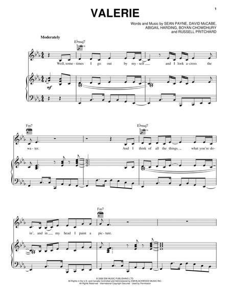 Download Valerie Sheet Music By Amy Winehouse Sheet Music Plus
