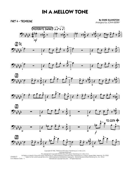 Download In A Mellow Tone - Part 4 - Trombone Sheet Music By