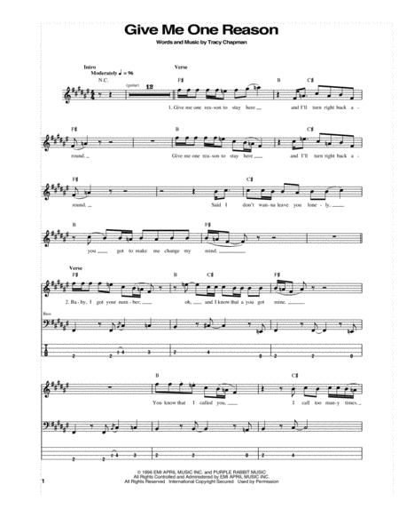 Download Give Me One Reason Sheet Music By Tracy Chapman