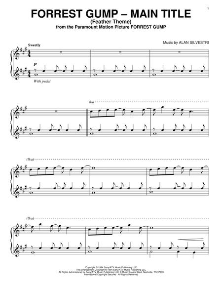 Forrest Gump Feather Theme  Piano Sheet Music Silvestri C Alan Silvestri Alan
